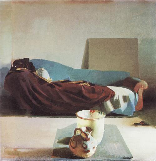 Janusz Kaczmarski, Wnętrze z dzbanem, olej na płótnie, 50na 50cm, 1982